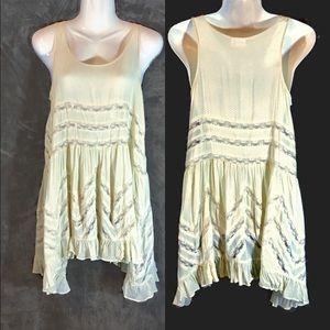 Free People Creme Lace Voile Trapeze Dress, XS